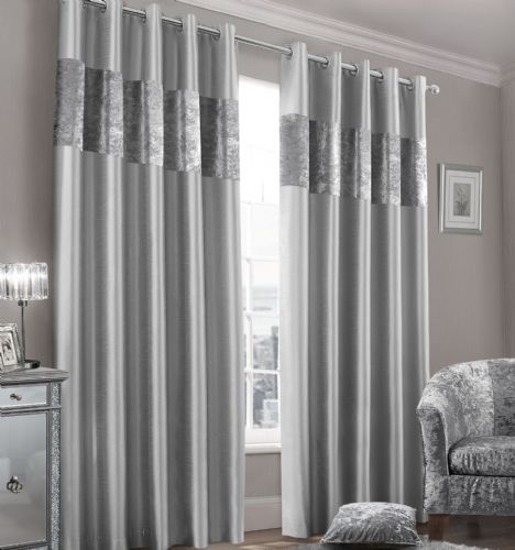Stylish Faux Silk Crushed Velvet Modern Textured Ringtop Eyelet Pair Of Curtains Silver Colour